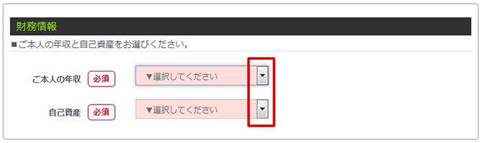 財務情報記入画面