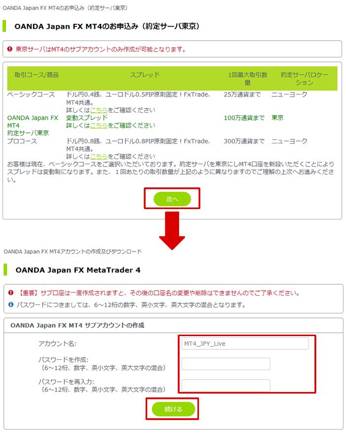 OANDA Japan FX MT4申込み画面