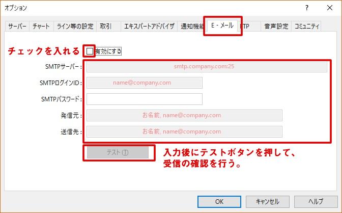 E-mailのSMTPサーバー設定